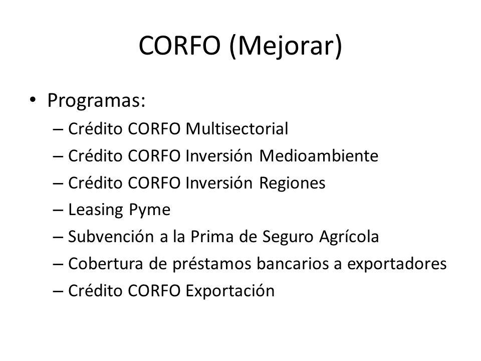 CORFO (Mejorar) Programas: – Crédito CORFO Multisectorial – Crédito CORFO Inversión Medioambiente – Crédito CORFO Inversión Regiones – Leasing Pyme –