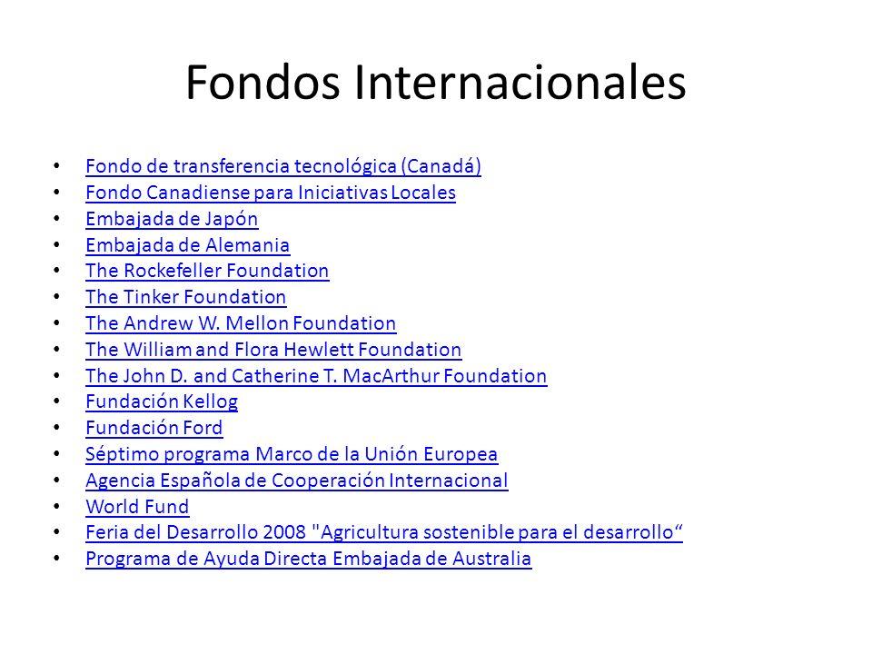 Fondos Internacionales Fondo de transferencia tecnológica (Canadá) Fondo Canadiense para Iniciativas Locales Embajada de Japón Embajada de Alemania Th