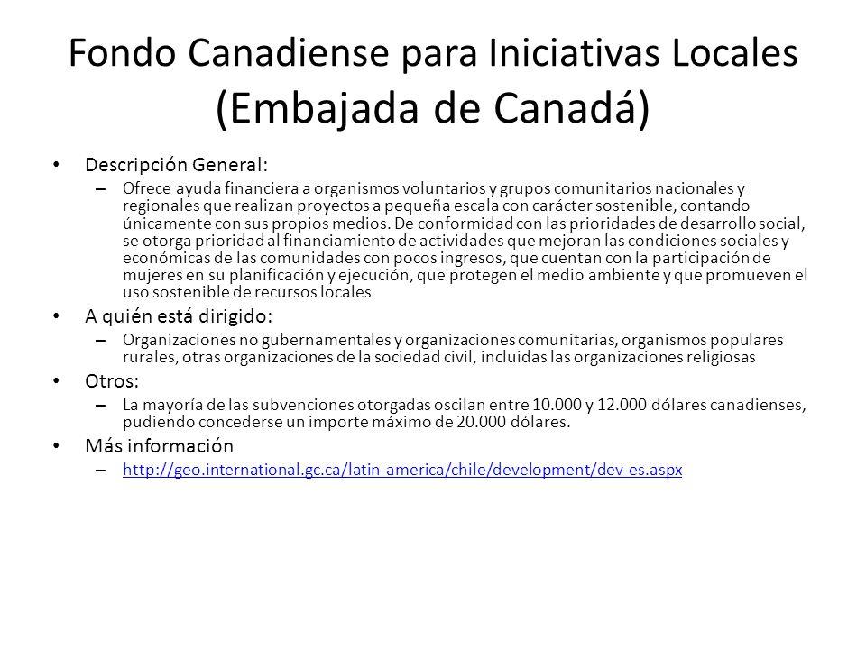 Fondo Canadiense para Iniciativas Locales (Embajada de Canadá) Descripción General: – Ofrece ayuda financiera a organismos voluntarios y grupos comuni