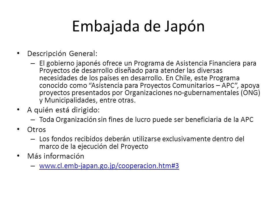 Embajada de Japón Descripción General: – El gobierno japonés ofrece un Programa de Asistencia Financiera para Proyectos de desarrollo diseñado para at