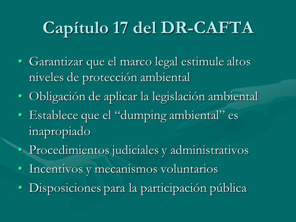 Capítulo 17 del DR-CAFTA Garantizar que el marco legal estimule altos niveles de protección ambientalGarantizar que el marco legal estimule altos nive