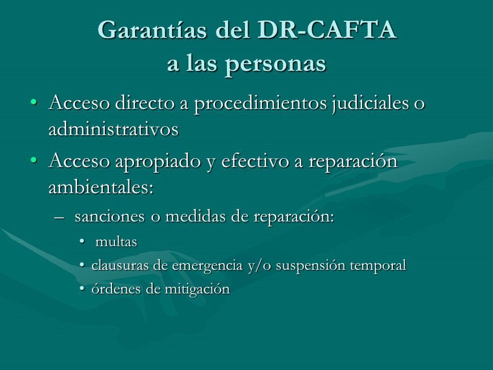 Garantías del DR-CAFTA a las personas Acceso directo a procedimientos judiciales o administrativosAcceso directo a procedimientos judiciales o adminis