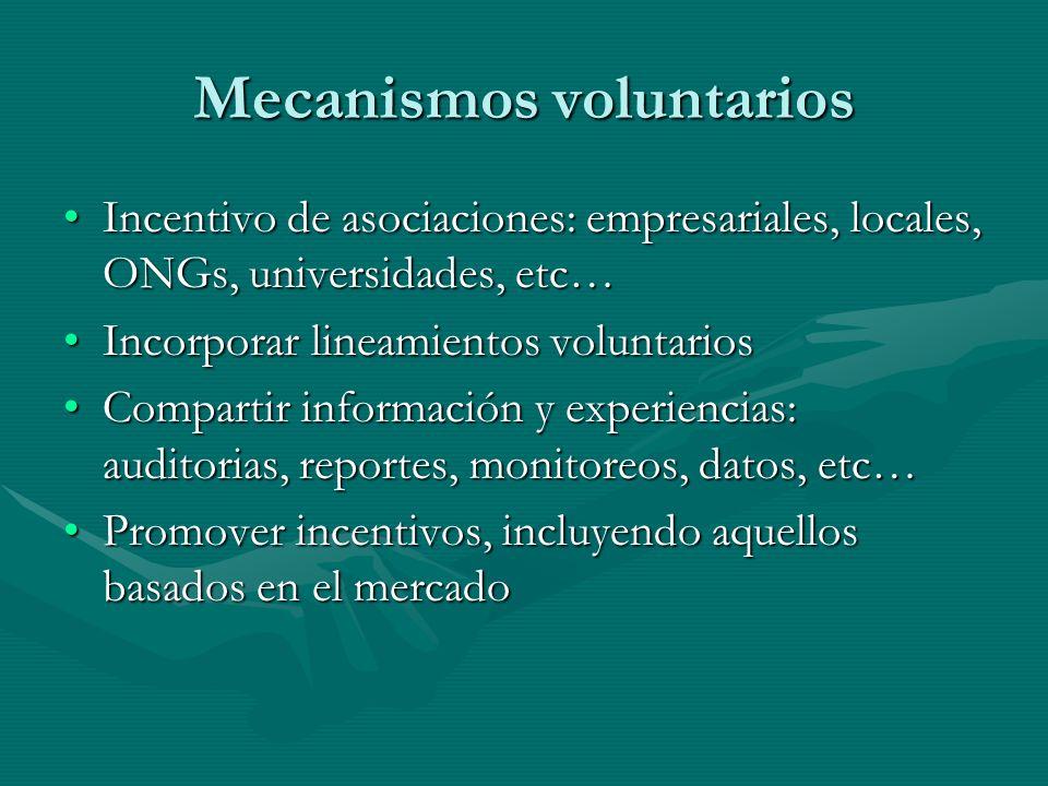 Mecanismos voluntarios Incentivo de asociaciones: empresariales, locales, ONGs, universidades, etc…Incentivo de asociaciones: empresariales, locales,