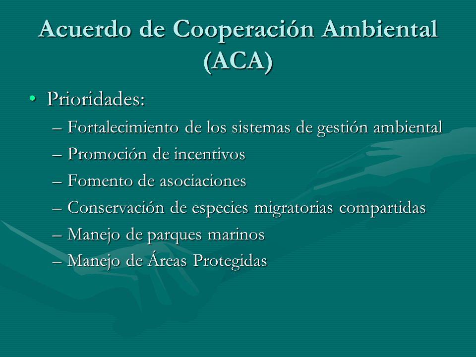 Acuerdo de Cooperación Ambiental (ACA) Prioridades:Prioridades: –Fortalecimiento de los sistemas de gestión ambiental –Promoción de incentivos –Foment