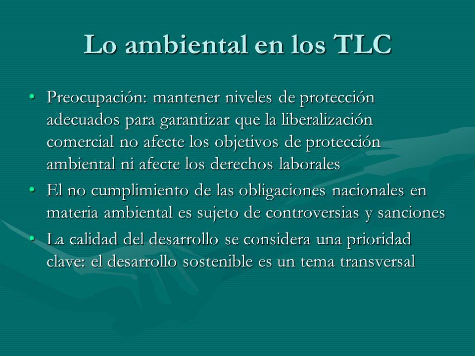 Lo ambiental en los TLC Preocupación: mantener niveles de protección adecuados para garantizar que la liberalización comercial no afecte los objetivos
