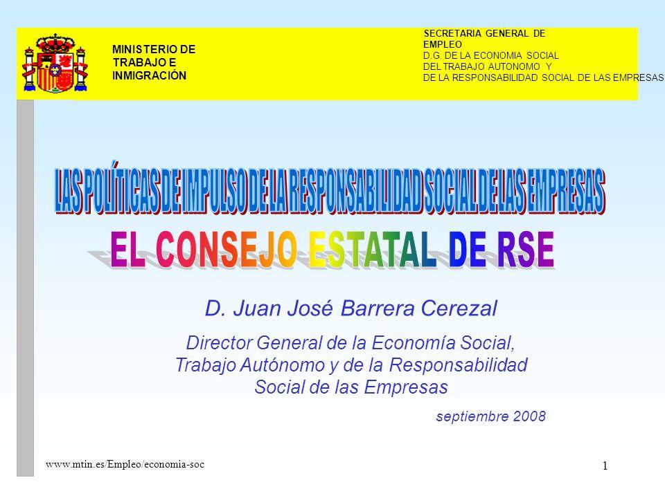 22 MINISTERIO DE TRABAJO E INMIGRACIÓN www.mtin.es/Empleo/economia-soc Composición y nombramiento El Consejo estará compuesto por: El Presidente, que será el Ministro de Trabajo e Inmigración.