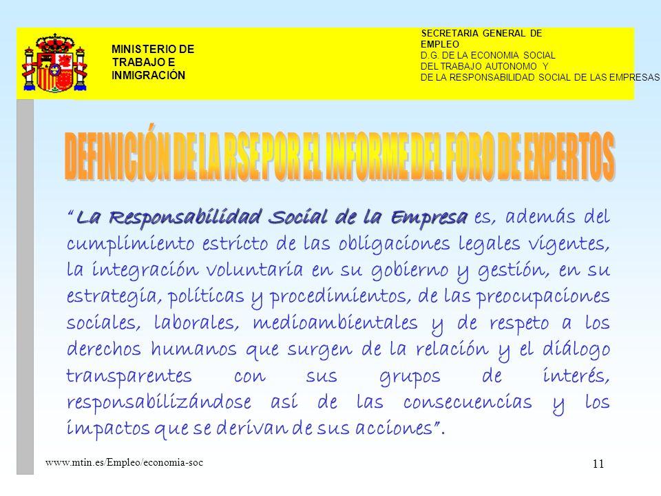 11 MINISTERIO DE TRABAJO E INMIGRACIÓN www.mtin.es/Empleo/economia-soc La Responsabilidad Social de la EmpresaLa Responsabilidad Social de la Empresa es, además del cumplimiento estricto de las obligaciones legales vigentes, la integración voluntaria en su gobierno y gestión, en su estrategia, políticas y procedimientos, de las preocupaciones sociales, laborales, medioambientales y de respeto a los derechos humanos que surgen de la relación y el diálogo transparentes con sus grupos de interés, responsabilizándose así de las consecuencias y los impactos que se derivan de sus acciones.