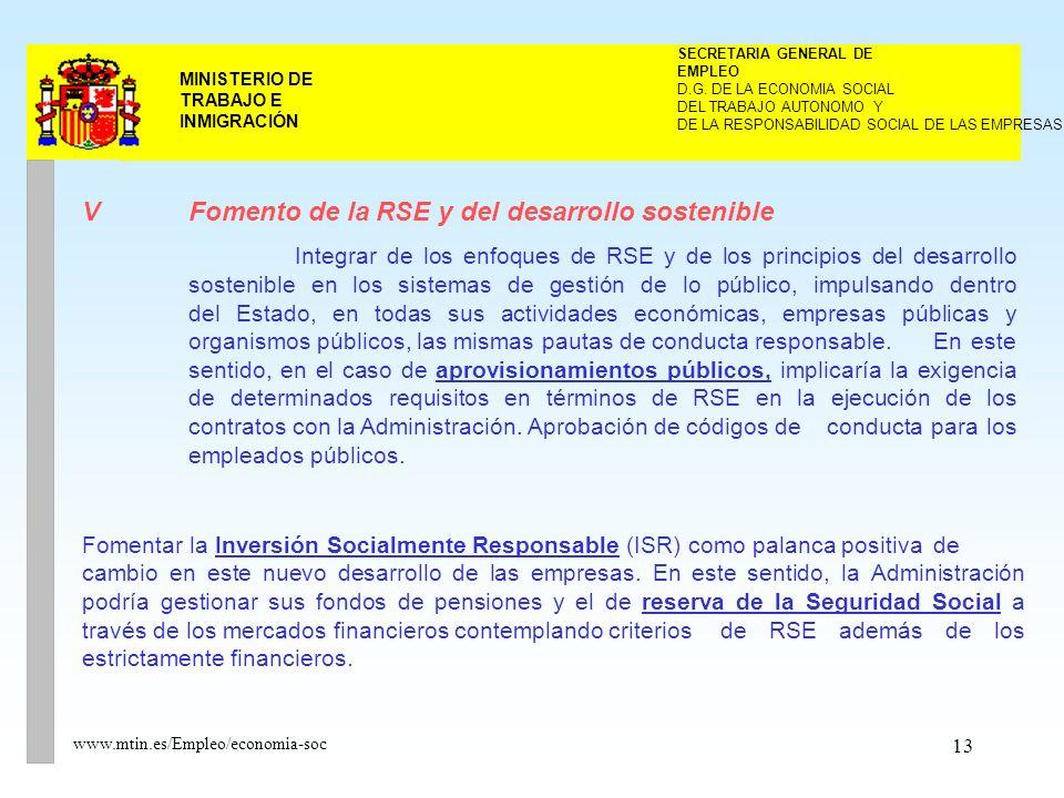13 MINISTERIO DE TRABAJO E INMIGRACIÓN www.mtin.es/Empleo/economia-soc V Fomento de la RSE y del desarrollo sostenible Integrar de los enfoques de RSE y de los principios del desarrollo sostenible en los sistemas de gestión de lo público, impulsando dentro del Estado, en todas sus actividades económicas, empresas públicas y organismos públicos, las mismas pautas de conducta responsable.