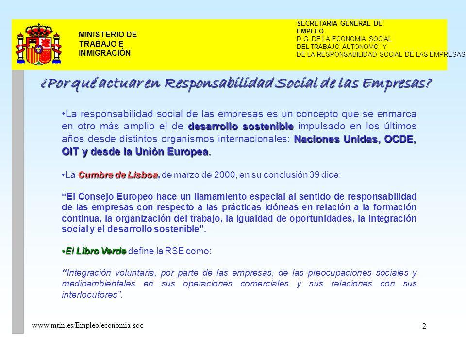 3 MINISTERIO DE TRABAJO E INMIGRACIÓN www.mtin.es/Empleo/economia-soc Avanzar hacia un nuevo modelo de empresa que: Compatibilice la maximización de los beneficios con la implantación de prácticas sociales y medioambientales.