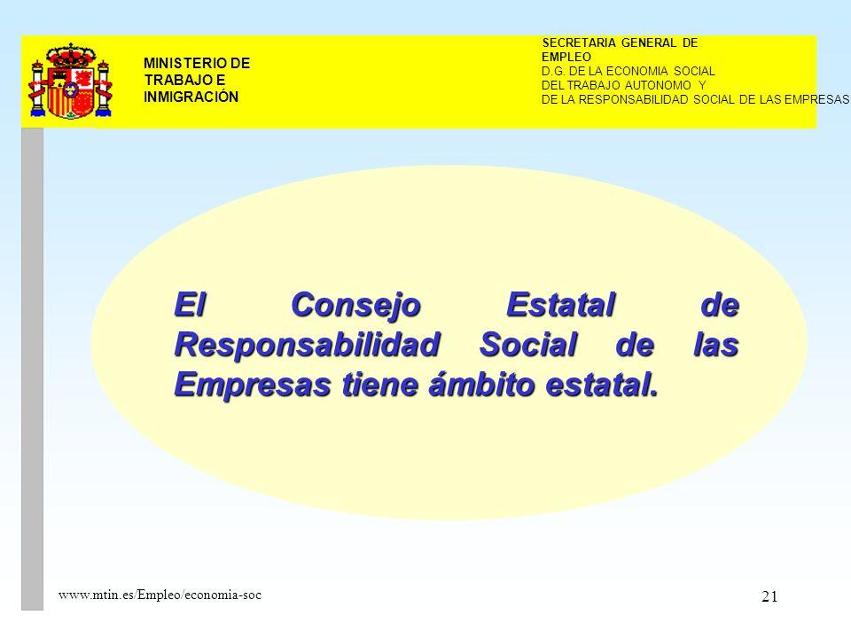 21 MINISTERIO DE TRABAJO E INMIGRACIÓN www.mtin.es/Empleo/economia-soc El Consejo Estatal de Responsabilidad Social de las Empresas tiene ámbito estatal.