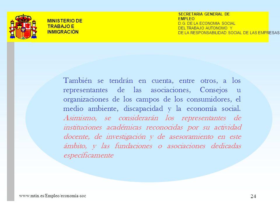 24 MINISTERIO DE TRABAJO E INMIGRACIÓN www.mtin.es/Empleo/economia-soc También se tendrán en cuenta, entre otros, a los representantes de las asociaciones, Consejos u organizaciones de los campos de los consumidores, el medio ambiente, discapacidad y la economía social.