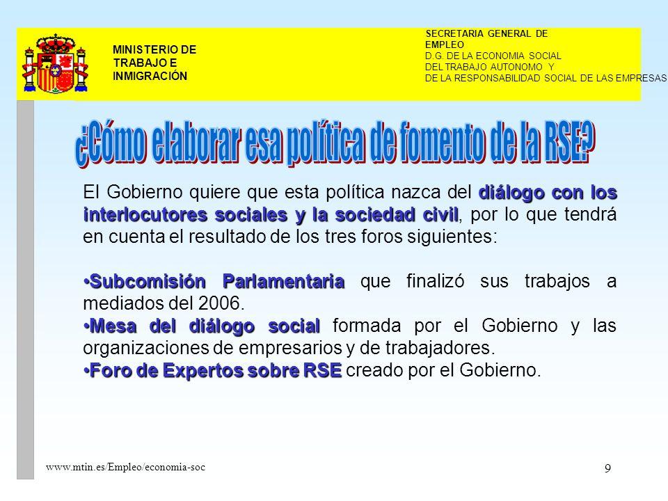 10 MINISTERIO DE TRABAJO E INMIGRACIÓN www.mtin.es/Empleo/economia-soc El Foro se constituyó en marzo de 2005.