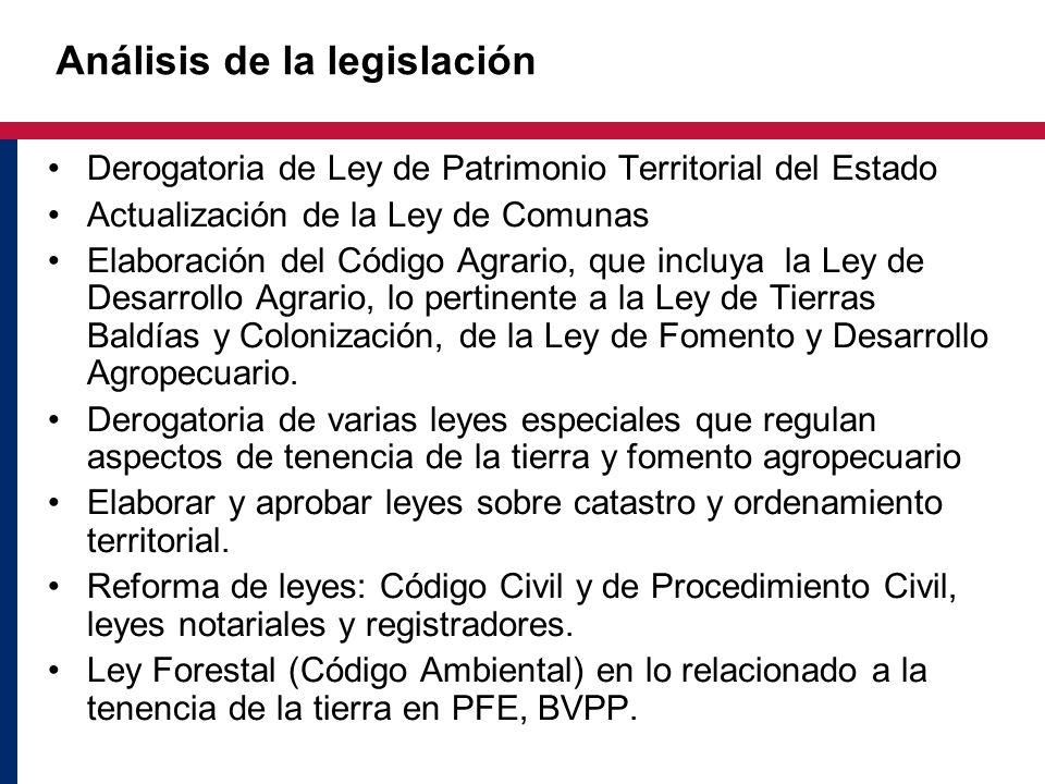 Análisis de la legislación Derogatoria de Ley de Patrimonio Territorial del Estado Actualización de la Ley de Comunas Elaboración del Código Agrario,