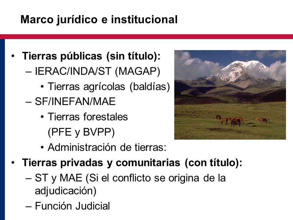 Tierras públicas (sin título): –IERAC/INDA/ST (MAGAP) Tierras agrícolas (baldías) –SF/INEFAN/MAE Tierras forestales (PFE y BVPP) Administración de tie