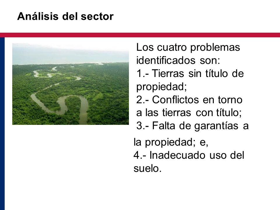 Análisis del sector la propiedad; e, 4.- Inadecuado uso del suelo. Los cuatro problemas identificados son: 1.- Tierras sin título de propiedad; 2.- Co