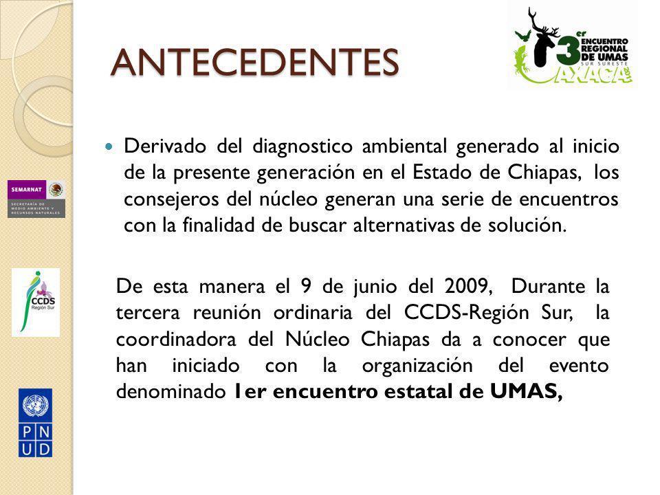 Durante dicha sesión, los integrantes del CCDS-Sur, deciden que dada la importancia del tema debe considerarse como: 1er ENCUENTRO REGIONAL DE UMAS 30 de septiembre al 2 de octubre del 2009