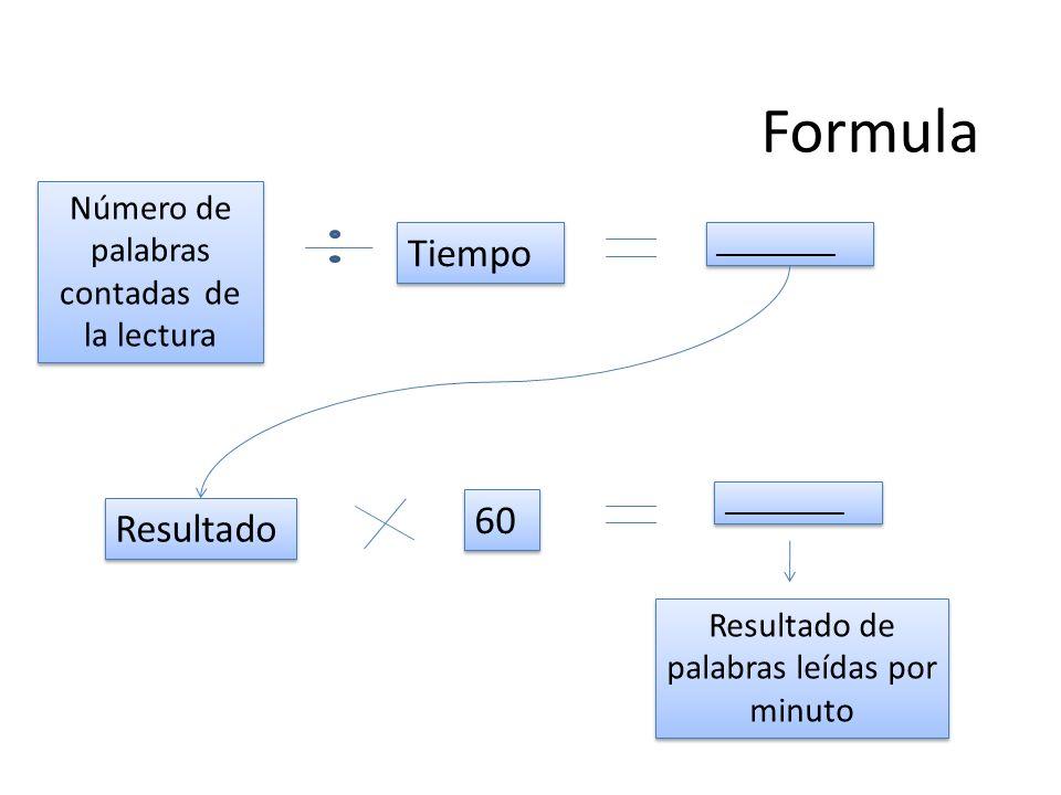 Formula Número de palabras contadas de la lectura Número de palabras contadas de la lectura Tiempo _________ Resultado 60 _________ Resultado de palabras leídas por minuto