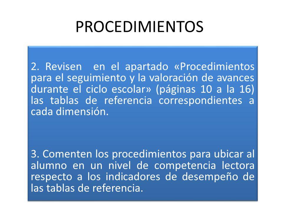 PROCEDIMIENTOS 2. Revisen en el apartado «Procedimientos para el seguimiento y la valoración de avances durante el ciclo escolar» (páginas 10 a la 16)
