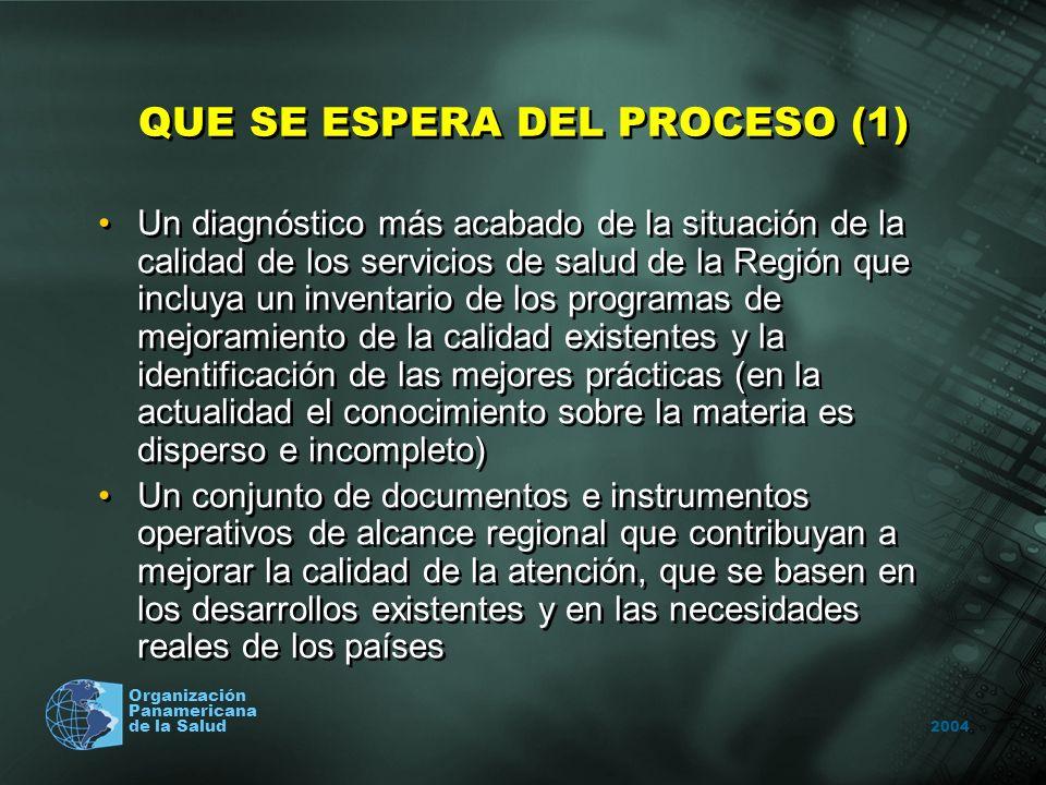 2004 Organización Panamericana de la Salud QUE SE ESPERA DEL PROCESO (1) Un diagnóstico más acabado de la situación de la calidad de los servicios de salud de la Región que incluya un inventario de los programas de mejoramiento de la calidad existentes y la identificación de las mejores prácticas (en la actualidad el conocimiento sobre la materia es disperso e incompleto) Un conjunto de documentos e instrumentos operativos de alcance regional que contribuyan a mejorar la calidad de la atención, que se basen en los desarrollos existentes y en las necesidades reales de los países Un diagnóstico más acabado de la situación de la calidad de los servicios de salud de la Región que incluya un inventario de los programas de mejoramiento de la calidad existentes y la identificación de las mejores prácticas (en la actualidad el conocimiento sobre la materia es disperso e incompleto) Un conjunto de documentos e instrumentos operativos de alcance regional que contribuyan a mejorar la calidad de la atención, que se basen en los desarrollos existentes y en las necesidades reales de los países