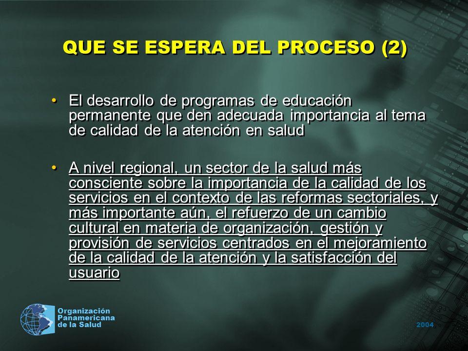 2004 Organización Panamericana de la Salud QUE SE ESPERA DEL PROCESO (2) El desarrollo de programas de educación permanente que den adecuada importanc