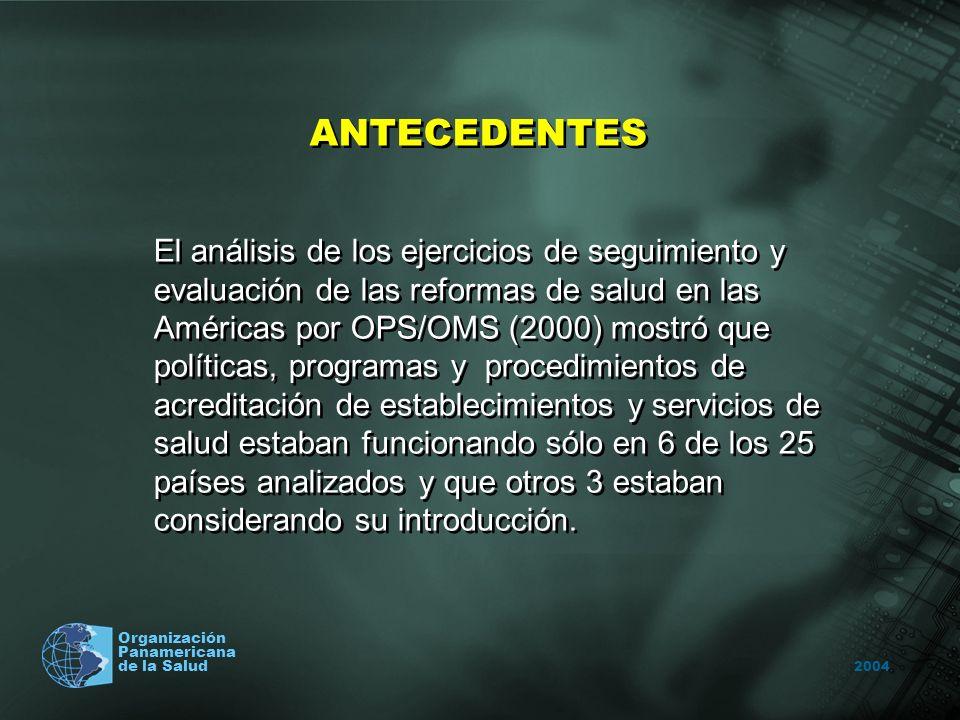 2004 Organización Panamericana de la Salud ANTECEDENTES El análisis de los ejercicios de seguimiento y evaluación de las reformas de salud en las Amér
