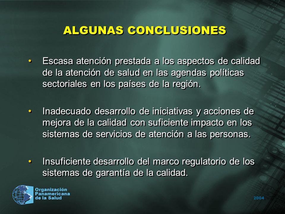 2004 Organización Panamericana de la Salud ALGUNAS CONCLUSIONES Escasa atención prestada a los aspectos de calidad de la atención de salud en las agendas políticas sectoriales en los países de la región.