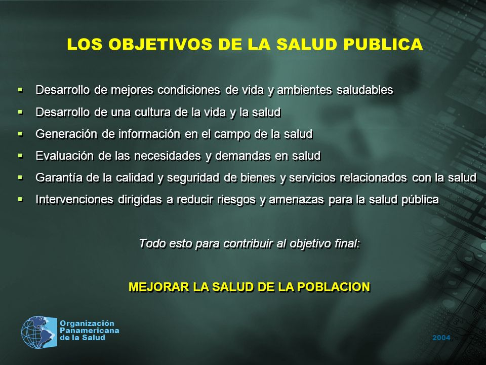 2004 Organización Panamericana de la Salud LOS OBJETIVOS DE LA SALUD PUBLICA Desarrollo de mejores condiciones de vida y ambientes saludables Desarrol