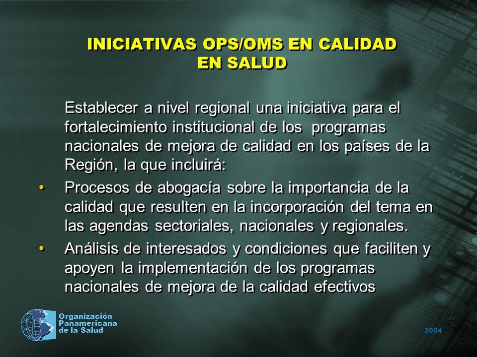 2004 Organización Panamericana de la Salud INICIATIVAS OPS/OMS EN CALIDAD EN SALUD Establecer a nivel regional una iniciativa para el fortalecimiento
