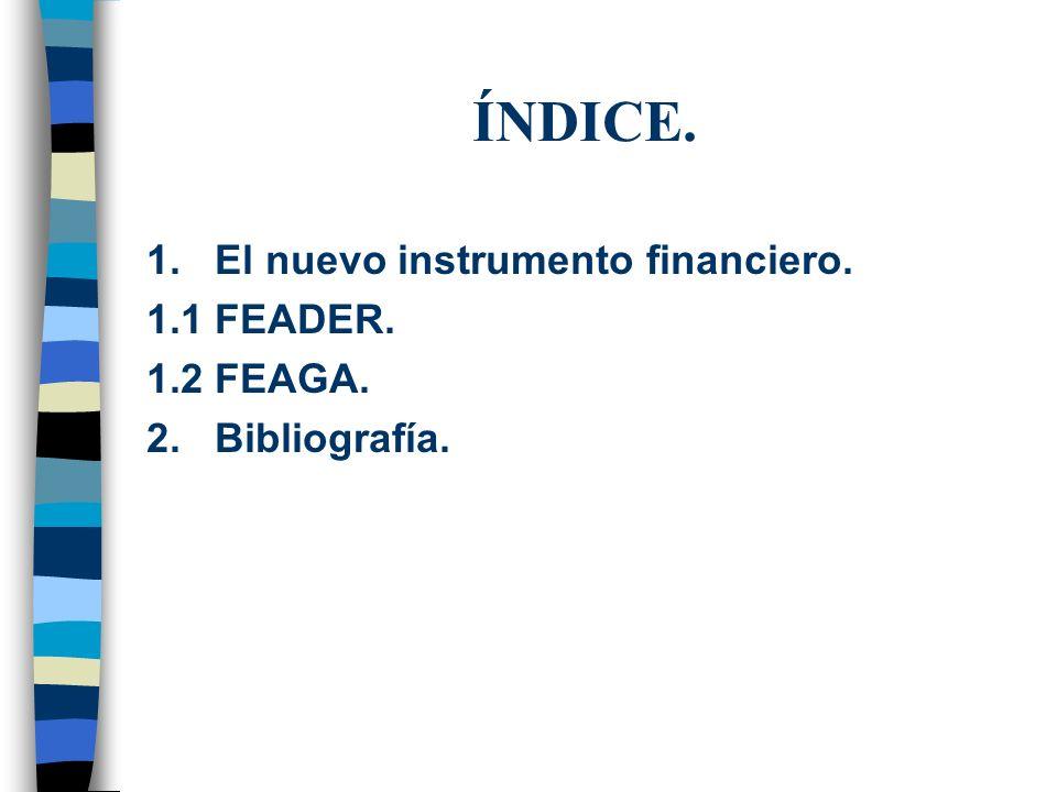 ÍNDICE. 1. El nuevo instrumento financiero. 1.1 FEADER. 1.2 FEAGA. 2. Bibliografía.