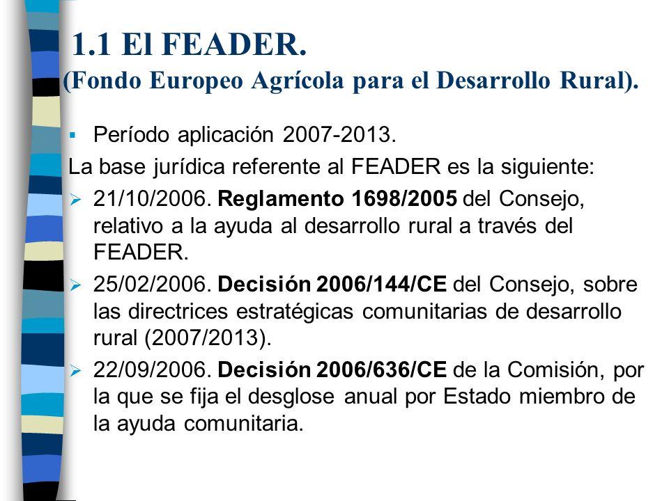 1.1 El FEADER. (Fondo Europeo Agrícola para el Desarrollo Rural).