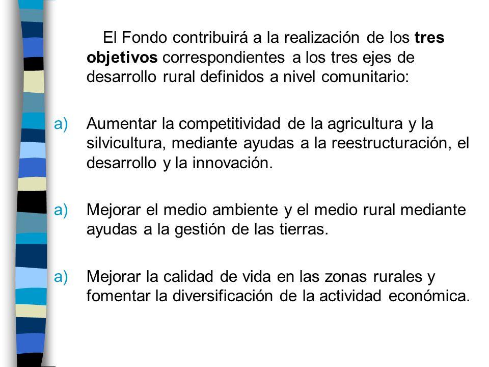 El Fondo contribuirá a la realización de los tres objetivos correspondientes a los tres ejes de desarrollo rural definidos a nivel comunitario: a)Aumentar la competitividad de la agricultura y la silvicultura, mediante ayudas a la reestructuración, el desarrollo y la innovación.