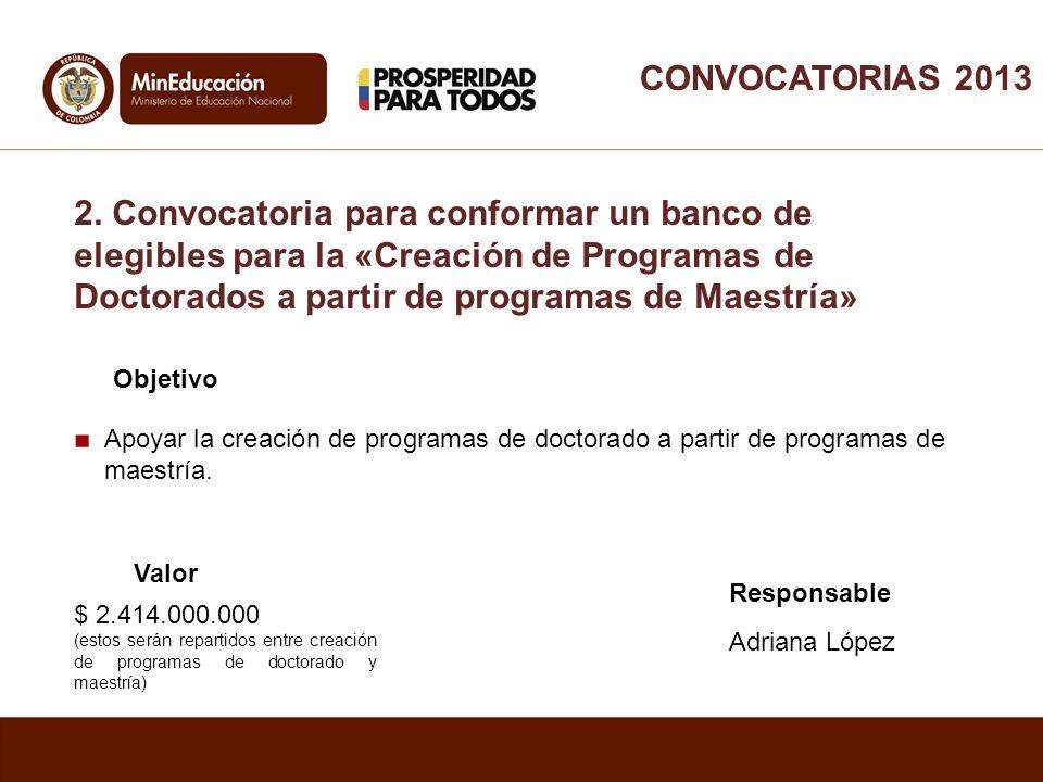 Apoyar la creación de programas de doctorado a partir de programas de maestría. Objetivo Valor Responsable Adriana López $ 2.414.000.000 (estos serán