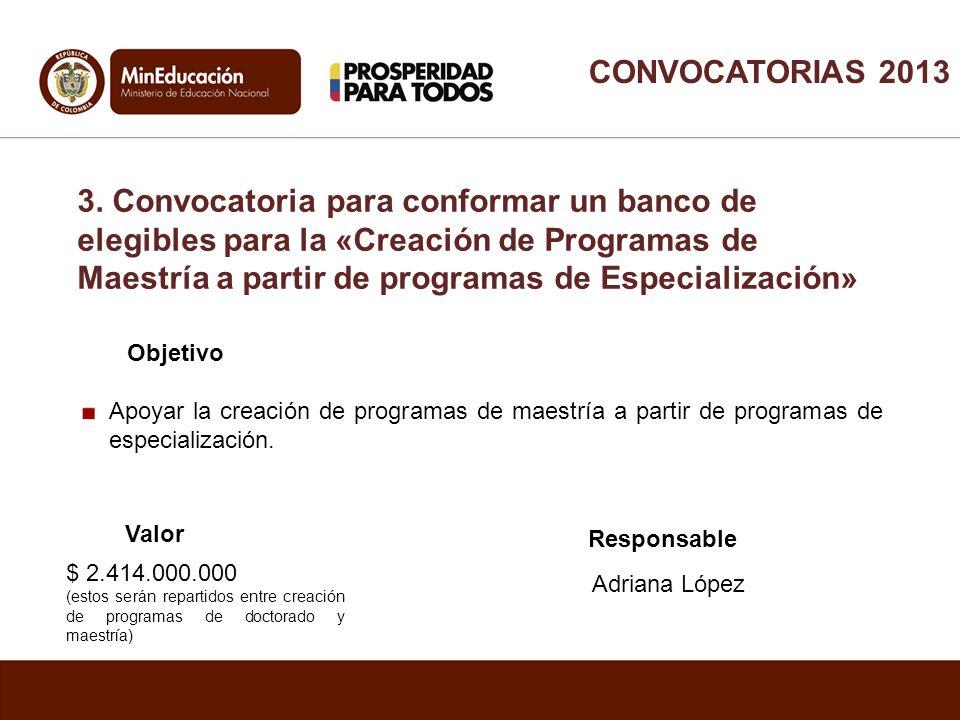Objetivo Apoyar la creación de programas de maestría a partir de programas de especialización. Valor Responsable Adriana López $ 2.414.000.000 (estos