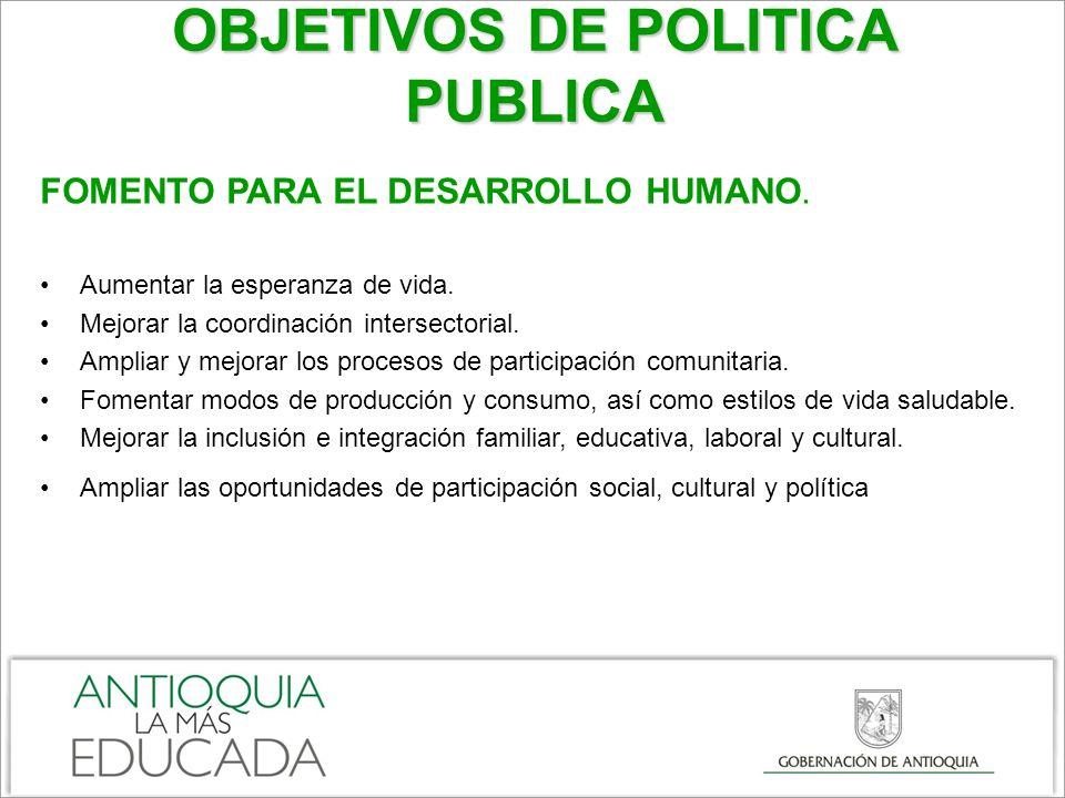 OBJETIVOS DE POLITICA PUBLICA FOMENTO PARA EL DESARROLLO HUMANO.