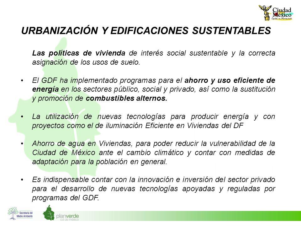 URBANIZACIÓN Y EDIFICACIONES SUSTENTABLES Las políticas de vivienda de interés social sustentable y la correcta asignación de los usos de suelo. El GD