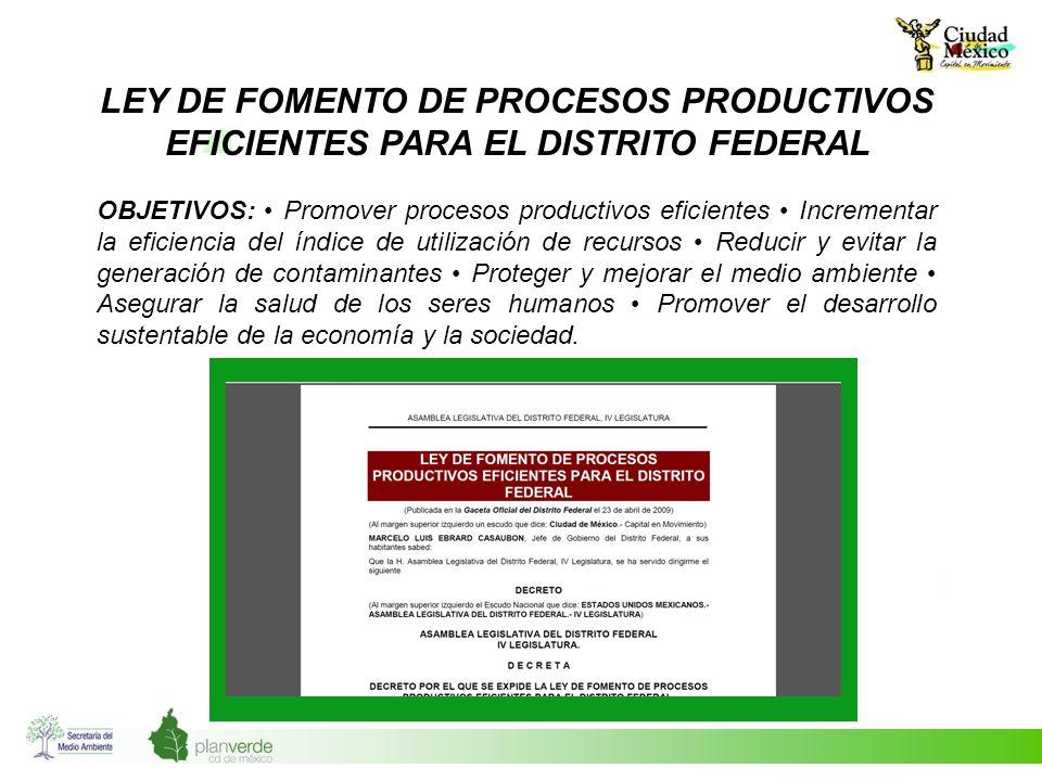 LEY DE FOMENTO DE PROCESOS PRODUCTIVOS EFICIENTES PARA EL DISTRITO FEDERAL OBJETIVOS: Promover procesos productivos eficientes Incrementar la eficienc
