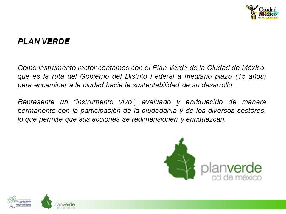 PLAN VERDE Como instrumento rector contamos con el Plan Verde de la Ciudad de México, que es la ruta del Gobierno del Distrito Federal a mediano plazo