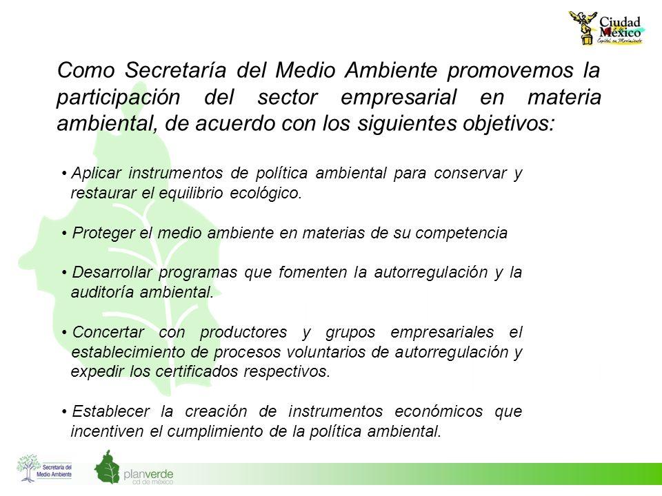 Como Secretaría del Medio Ambiente promovemos la participación del sector empresarial en materia ambiental, de acuerdo con los siguientes objetivos: A