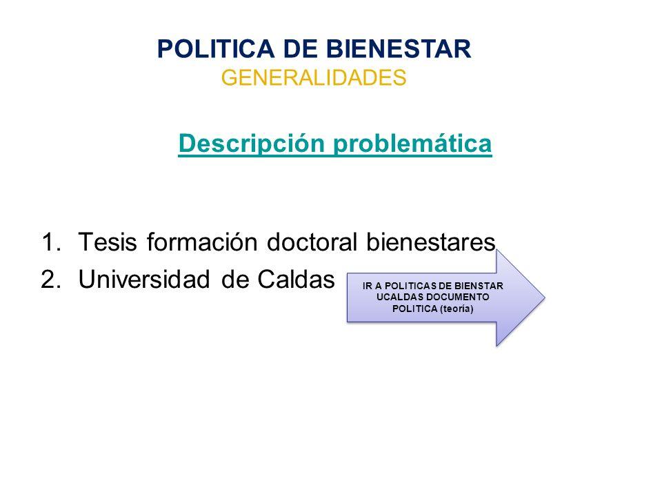 Descripción problemática 1.Tesis formación doctoral bienestares 2.Universidad de Caldas POLITICA DE BIENESTAR GENERALIDADES IR A POLITICAS DE BIENSTAR