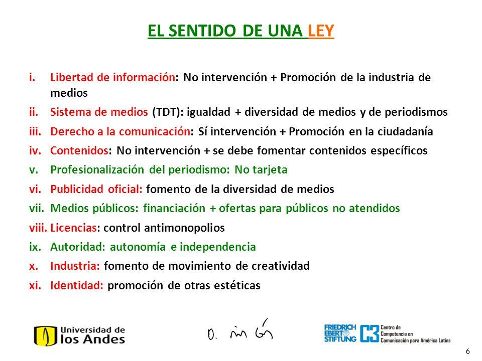 6 EL SENTIDO DE UNA LEY i.Libertad de información: No intervención + Promoción de la industria de medios ii.Sistema de medios (TDT): igualdad + divers