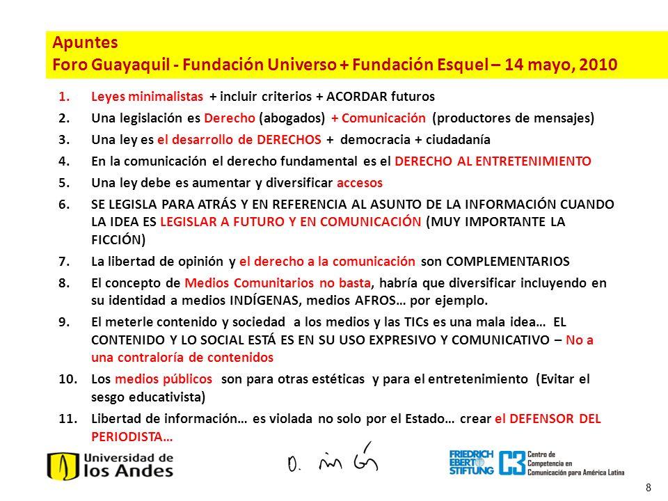 8 1.Leyes minimalistas + incluir criterios + ACORDAR futuros 2.Una legislación es Derecho (abogados) + Comunicación (productores de mensajes) 3.Una le