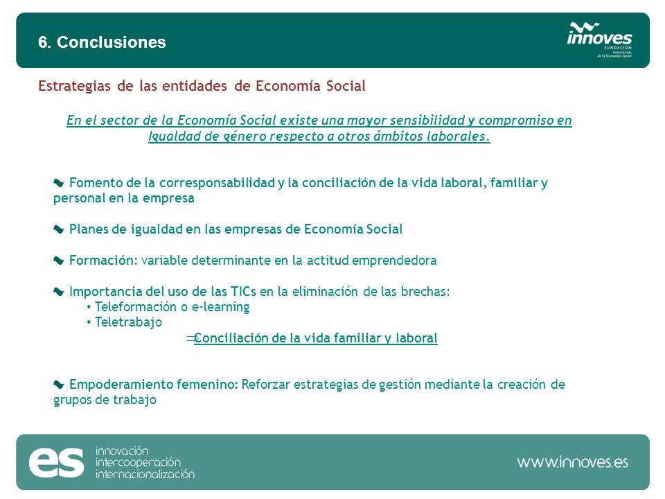 6. Conclusiones En el sector de la Economía Social existe una mayor sensibilidad y compromiso en Igualdad de género respecto a otros ámbitos laborales