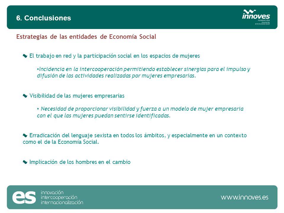 6. Conclusiones El trabajo en red y la participación social en los espacios de mujeres Incidencia en la intercooperación permitiendo establecer sinerg