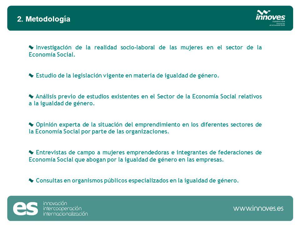 2. Metodología Investigación de la realidad socio-laboral de las mujeres en el sector de la Economía Social. Estudio de la legislación vigente en mate