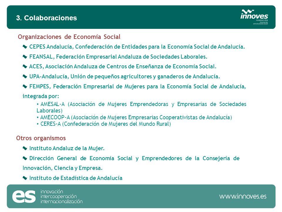 3. Colaboraciones CEPES Andalucía, Confederación de Entidades para la Economía Social de Andalucía. FEANSAL, Federación Empresarial Andaluza de Socied