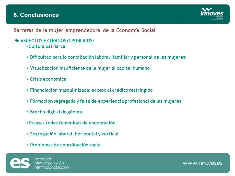 ASPECTOS EXTERNOS O PÚBLICOS: Cultura patriarcal Dificultad para la conciliación laboral, familiar y personal de las mujeres: Visualización insuficien