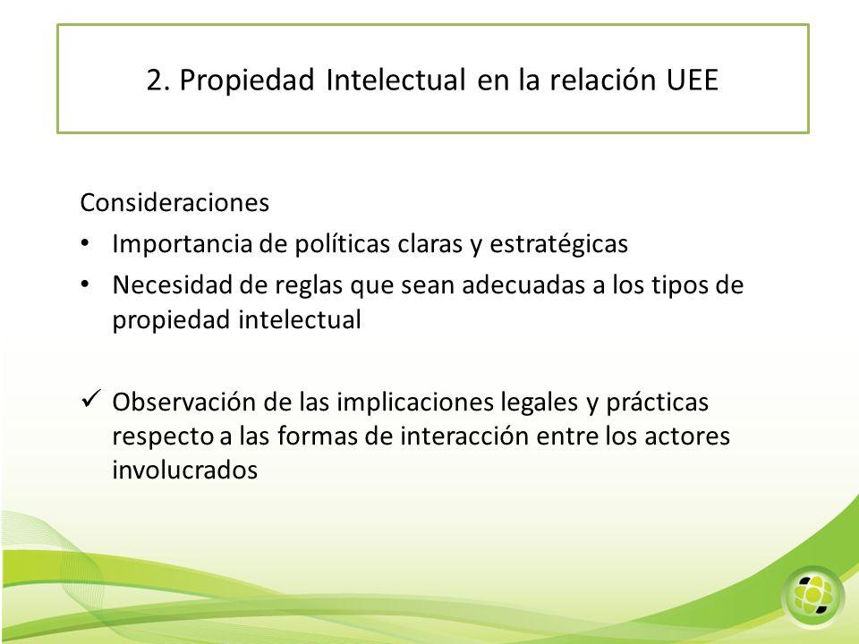 Consideraciones Importancia de políticas claras y estratégicas Necesidad de reglas que sean adecuadas a los tipos de propiedad intelectual Observación