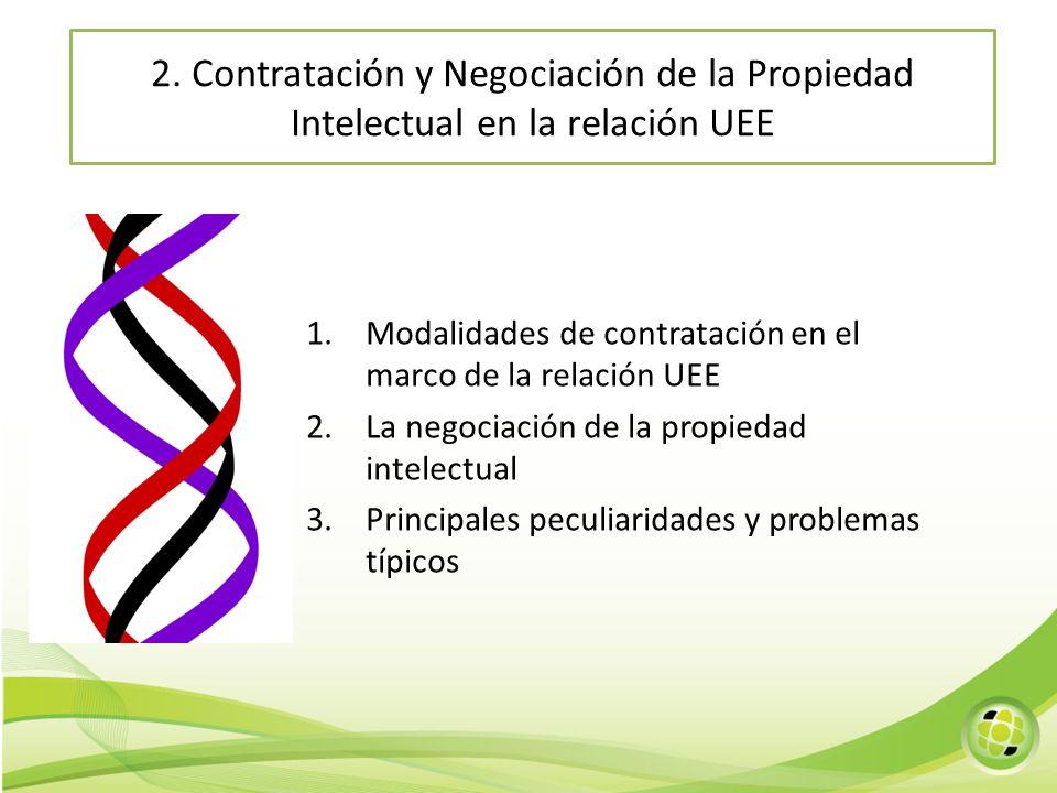 2. Contratación y Negociación de la Propiedad Intelectual en la relación UEE 1.Modalidades de contratación en el marco de la relación UEE 2.La negocia