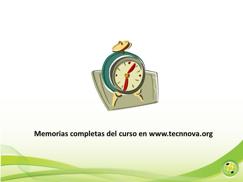 Memorias completas del curso en www.tecnnova.org
