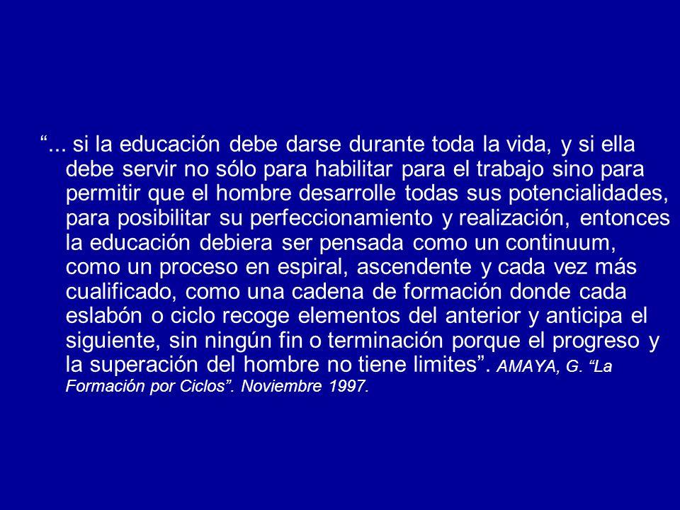 UNA ALTERNATIVA: LA EDUCACION POR CICLOS Educación más equitativa, más posibilidades de permanencia y movilidad en el sistema de educación superior.